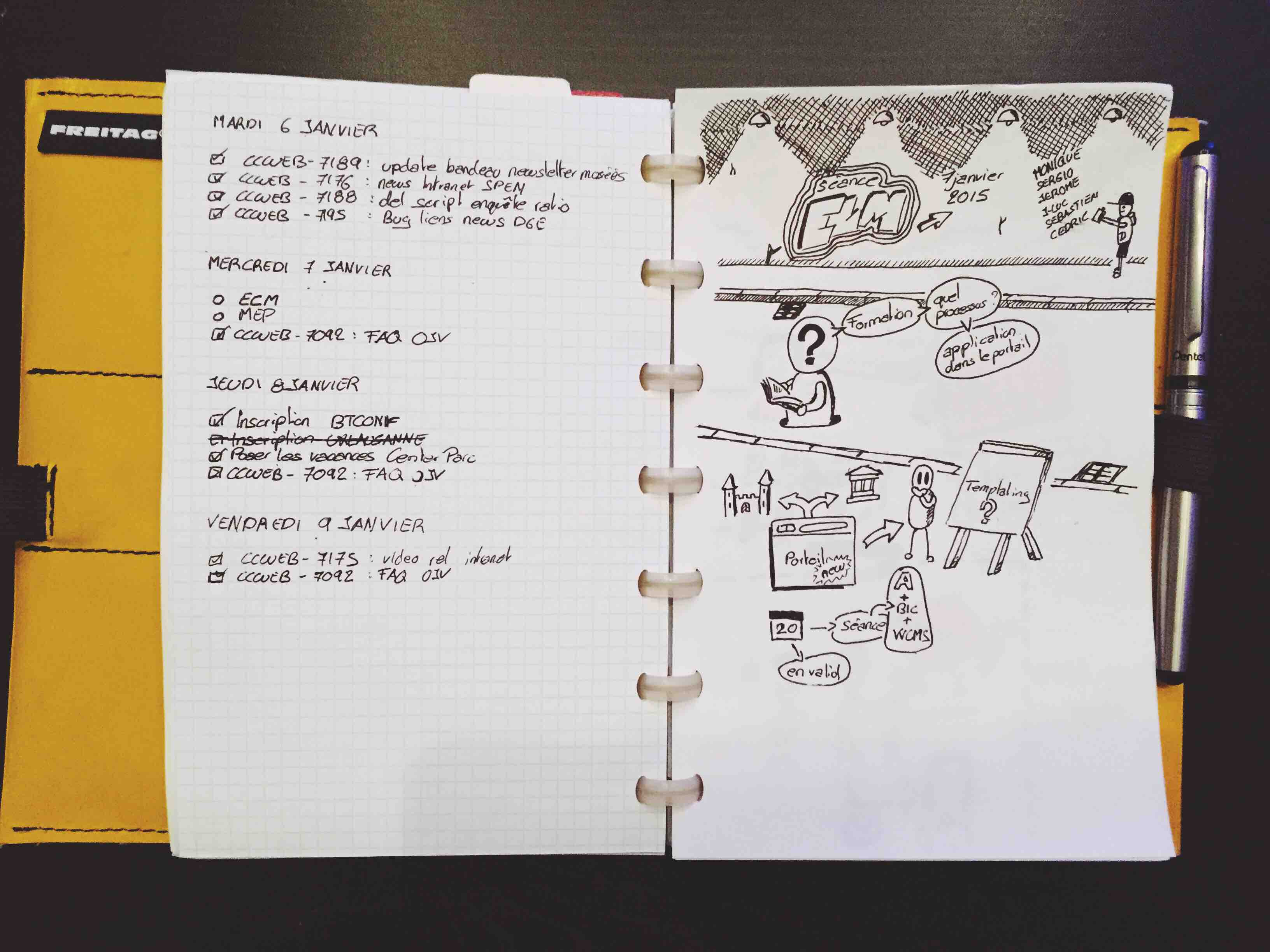 Notebook open. A week page on the left and a sketchnote on the right